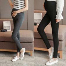 Pregnant WomenSolid High Waist Pants Over Bump Legging Maternity Trouser 3Wa