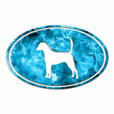 English Foxhound Oval Dog - Decal Sticker - Multiple Patterns & Sizes - ebn3659