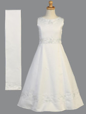 New Girls White Beaded Satin 2 Pc Dress Size 10 First Holy Communion Shawl USA