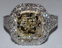 Fancy Yellow GIA Certified 2.75 Carat Diamond Ring Cushion Cut 18k Gold