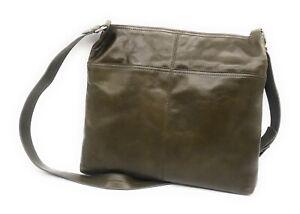 Hobo Lorna Large Shoulder Bag Messenger Smooth Lightweight Leather (Mistletoe)