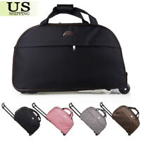 """24"""" Rolling Wheeled Duffle Trolley Bag Tote Carry On Travel Suitcase Luggage"""