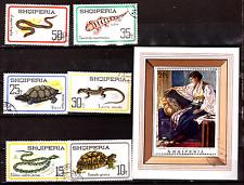ALBANIA bloque y sellos : reptiles,bloque en retrato-cuadro 293T4