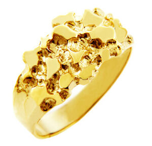Solid Yellow Gold Men's Knight Nugget Ring