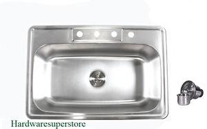 "33"" x 22"" Topmount Drop In Stainless Steel Kitchen Sinks Single Bowl"