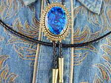nuovo fatto a mano blu ABALONE BOLO cravatta oro metallo pelle corda, gotico,
