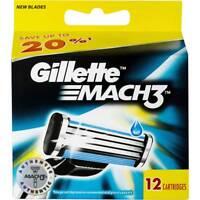 New Gillette Mach3 Mach 3 Refill Men's Razor Blades 60 Cartridges, 5 Packs of 12