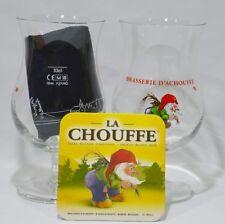 CHOUFFE Bière d'Achouffe 2 verres 33 cl + 2 sous bocks carton NEUF !!PROMO !!