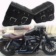Motorcycle Black Side Saddle tool Bag For Harley Sportster XL883 1200 Cafe Racer