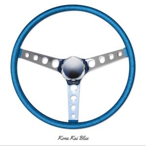 """15"""" Mooneyes 3-Spoke Steering Wheel Kona Blue Metal Flake Finger Grip GS290CMKB"""