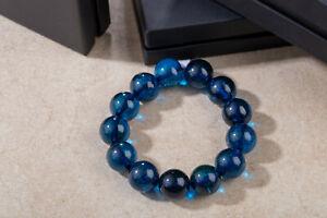 Precious Azure Amber Bracelet Handmade Ball Shape 16mm Diameter Beads Blue Color
