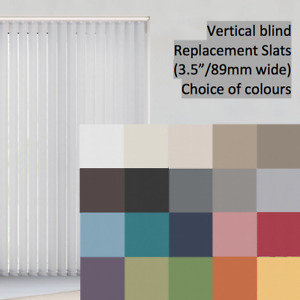 """Vertical Blind Slats Replacement Louvres 89mm (3.5"""") Loads of Colours"""