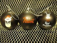 PBR PABST BLUE RIBBON BEER Set of 3 BLACK CHRISTMAS Ornaments Skull Santa +BONUS