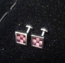 Cufflinks  Silver w/ Pink Purple Crystals
