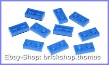 Lego 10 x Plate (1 x 2) Blue Panel - 3023 - Blue Plate Plates - New / New