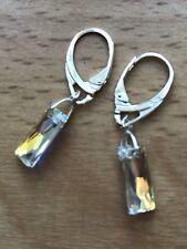 925 STERLING SILVER EARRINGS-SWAROVSKI Crystal AB 13.5mm Baguette
