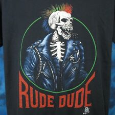 vintage 80s RUDE DUDE SKELETON RAINBOW MOHAWK PAPER THIN T-Shirt LARGE/XL punk