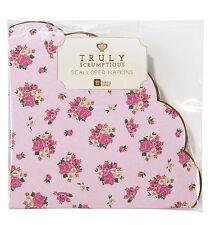 20 Tovaglioli Stile Vintage Floreale Fiore Rosa bordi smerlati tovagliolo tè pomeridiano