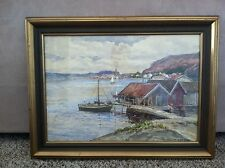 Fjallbaka Watercolor Painting Framed by Anna Gardell-Ericson