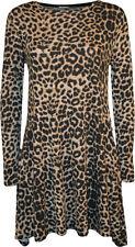 Animal Print Viscose Regular Size Dresses for Women