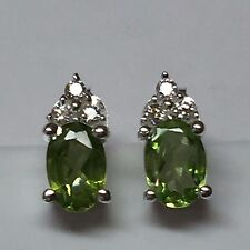 Natural 1.5ct Apple Green Peridot 925 Solid Sterling Silver Earrings 10mm