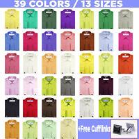 Roman Giardino Men's Dress Shirt French Convertible Cuff Solid 13 Sizes 39 color