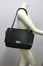 LANVIN LEATHER HAPPY PURSE BLACK LARGE SILVER METAL CHAIN AND GOLD METAL BUCKLES
