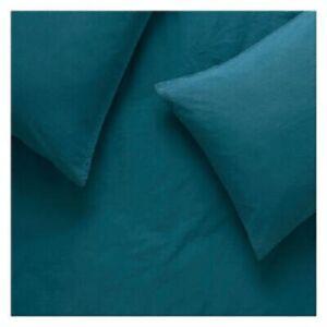Habitat Washed Teal Blue Stonewashed Cotton Set Super King Size Bed Duvet Cover