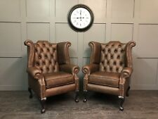 Pair of Chesterfield Queen Anne High Back Wing Chairs in Saloon Italian Leather