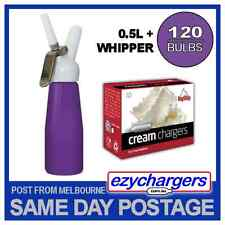 EZYWHIP CREAM WHIPPER 0.5L PURPLE & 120 N2O CHARGER DISPENSER NITROUS BULBS