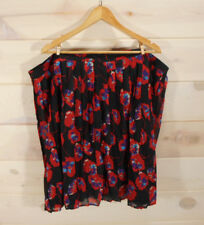 Modcloth Women's Plus 4X Floral Print Skirt New Without Tags Black Red Pleated