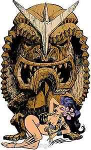 Tiki God Sticker Decal Low Brow Artist The Pizz P27