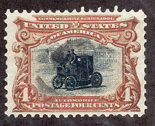 US # 296 (1901) 4c - Grade: XF/S (Nicely Centered)'Pan-Am Expo' Elec Automobile
