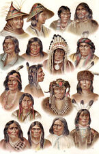 INDIGENOUS AMERICAN PEOPLE TRIBES 1885 vintage original Chromolithograph print 1
