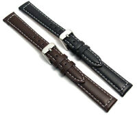 Ladies Smooth Contrast Stitched Padded Leather Watch Band Strap 12mm 14mm c030