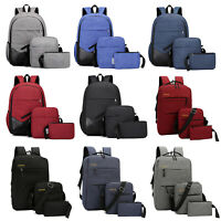 3pcs Set Men Women's Backpack Canvas Shoulder School Bookbag Rucksack Travel Bag