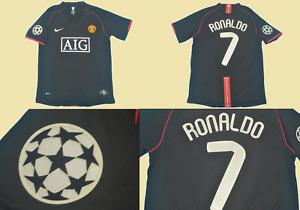 Manchester united 2007 2008 black jersey champions league model ronaldo