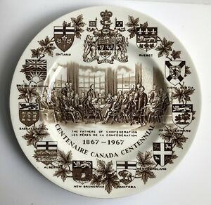 """Vintage Brown Canadian Centennial Plate Alpine White Ironstone Wood Sons 10"""""""