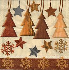 4 lose Servietten Motivservietten Serviettentechnik Weihnachten Bäume (1347)