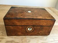 Victorian wooden box with marquetry and mother of pearl inlay