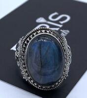 Designer 925 Stamped Sterling Silver Ladies Labradorite Big Oval Gemstone Ring