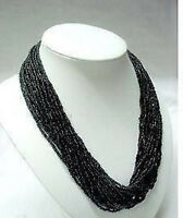 BEAUTIFUL 2-3MM BLACK MULTI STRAND MANMADE TIBET CORAL SEED BEAD NECKLACE