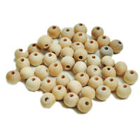 100X Round Wood Beads Spacer Wooden Bead Natural Beads Balls Untreated With Hole