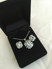 New Qvc Stone burst blue topaz set necklace and earring set Gift for her Boxed