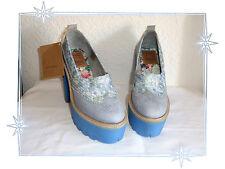 F - Magnifiques Chaussures Talons Fantaisies Cuir et Tissu Bleu Boom Bap P39 6874aff00b4