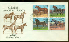 1985 FDC - Scott# 2155-58 - Horses Block of 4 - Artmaster Cachet   UA