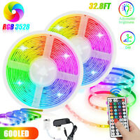 32FT Flexible 3528 RGB Strip Light LED SMD Remote Fairy Lights Room TV Party Bar