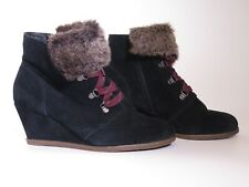 CLARKS BLACK SUEDE LUMIERE SPIN ANKLE BOOTS WEDGE HEEL & FAUX FUR CUFF ~ 6