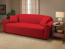 """""""A GREAT PRODUCT""""---RED--JERSEY STRETCH SLIPCOVERS-SOFA LOVESEAT CHAIR RECLINER"""