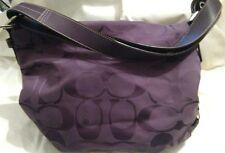 COACH Dark Purple Canvas/Jacquard Hobo/Convertible/Duffle Cross Body Bag